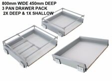 KITCHEN DRAWER WILL FIT 800mm CABINET 450mm deep / 3 PAN PACK SOFT CLOSE (8190)