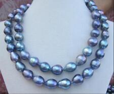 "HUGE 38""13-14mm south sea genuine black blue red baroque pearl necklace 613AAA"