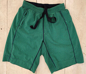 FUN Lululemon Green Striped Athletic Shorts Size Men's Medium Pockets