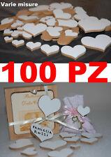 100 cuori legno di mdf bianco da un lato, varie misure  matrimonio, bomboniera