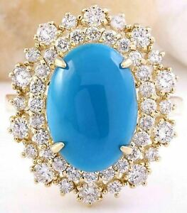 7.14 CT Oval Cut NATURAL Turquoise REAL SOLID 14K Yellow Gold Diamond Ring