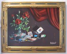 A Very Fine & Rare By Alfano Dardari Italian Roses & Cigarette Oil Painting