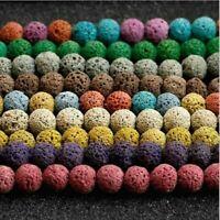 48Pcs 8MM Natural Stone Beads Lava Rock Round Jewelry Making Gemstone w7