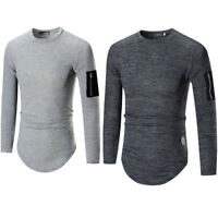 Mens Soft Casual Fashion Jumper Round Neck Sweater Knitwear Pullover With Pocket
