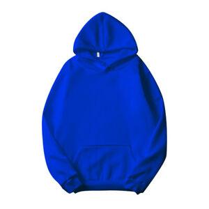 US Men Women Solid Full Pullover Hoodie Classic Hooded New Sweatshirt Cotton
