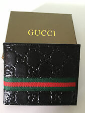 Men Gucci Black Signature Web Leather Wallet