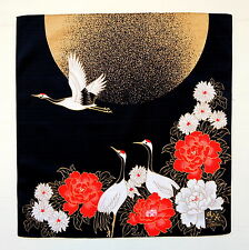 Crane Birds & Golden Moon Black Japanese Furoshiki Wrapping Cloth TB6