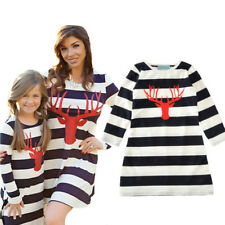 Mom Daughter Matching Clothes Kid Girls Women Long Sleeve Xmas Style Loose Dress
