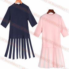 New Ted Baker HETHIA Pleated Skirt Knitted Flippy Dress Navy Light Pink