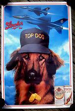 "1988 ""Top Dog"" Golden Retriever/Fighter Jet airplanes/Stroh's beer poster"