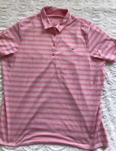 Vineyard Vines Women's ~ Golf Performance Polo ~ Size XL  Pink stripe