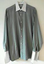 Charvet Button Down Shirt Iridescent Green Purple Formal White Collar 39 16.5