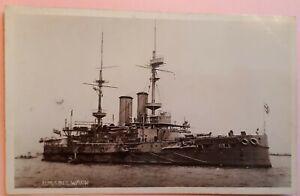c1910 B/W Postcard. HMS BULWARK (1899) London-Class Battleship. Destroyed 1914
