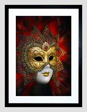 PHOTO VENETIAN MASK CARNIVAL GOLD RED ORNATE DESIGN FRAMED ART PRINT B12X8348