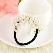 Fashion Rhinestone Crystal Pearl Hair Band Rope Elastic Ponytail Holder Woman