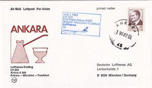 (20613) Turkey Lufthansa Cover Ankara Munich Frankfurt 1st Flight 1983