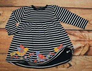 Jojo Maman Bebe Girl Long Sleeve Jersey Dress Navy Blue Cotton 12-18 Months