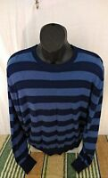 IZOD Men's Sweater Size Medium Blue 100% Cotton Crew Neck Long Sleeve