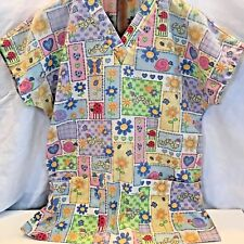 Simply Basic Size Small Pastel Hearts Flowers Medical Uniform Scrub Top Sz S