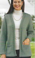 "Ladies Jacket Knitting Pattern edge to edge and optional pockets  DK 32-50"" 1108"