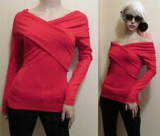 RED KNIT Silk Sexy COLD SHOULDER Bare tight BANDAGE WRAP TUNIC SWEATER Top S