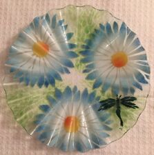 "Sydenstricker Ruffled 12"" Glass Plate White Daisy And Dragonfly"