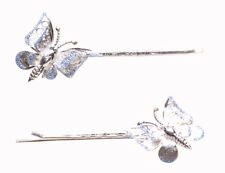 Sparkling & Glam Blue Glitter Embellished Chrome Butterfly Hair Clip(Zx213)