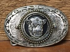 Vintage Hereford Angus Beef Cow Belt Buckle - Unmarked - Removable Front Emblem