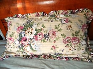 Raymond Waites (2) King Size Ruffled Floral Pillow Shams Cotton-Sateen.Israel.