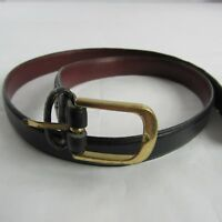 Liberty of London Belt 36/90 Genuine Leather Black Unisex Solid Brass Buckle
