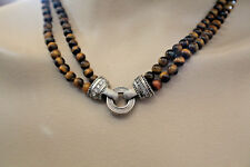 "JUDITH RIPKA 925 TIGER EYE 2 STRAND NECKLACE 18"" 59.6 GRAMS"
