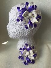 Pair handmade purple flower ivory pompom Harajuku romany hair bows bobbles