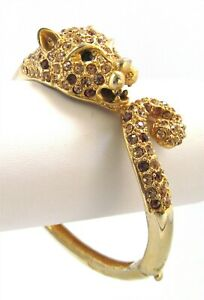 Hinged Clamper Panther Bracelet Amber and Gold Rhinestone Bangle