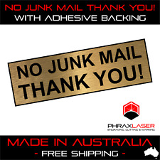 NO JUNK MAIL THANK YOU - GOLD SIGN - LABEL - PLAQUE with Adhesive 80mm x 25mm