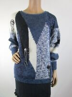 Vintage Ann Wi Sweater Size M Cotton Blend Metal Stars with Leather Trim