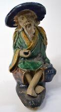 "Vintage Chinese Mudman Figure Elder Man Seated Fishing 3-3/8"""