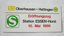 """Zuglaufschild,Plastik, Miniatur,""""S 3 Oberhausen-Hattingen VRR""""Eröffnungszug 1986"""
