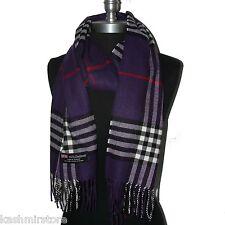 "New Fashion 100% Cashmere Scarf Purple Check Plaid Scotland Wool Wrap ""Bm04"""