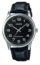 Casio MTP-V001L-1B Men's Standard Analog Leather Band Easy Reader 3-Hand Watch