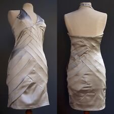 Arden B Pewter Silver Satin Body Con Dress Quilted Geometric Pattern NWT New M