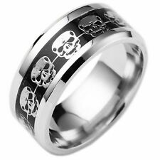 Black Blue Gold Silver Plated Womens Wedding Band Mens Skull Ring (Sizes K - Z)