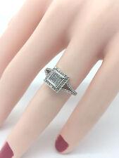 Princess Cut Round Diamonds Halo Engagement Ring 10K White Gold 1/2 Carat SZ 5