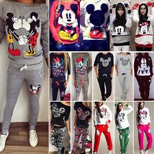 Damen Mickey Minnie Trainingsanzug Hoodie Pullover Tops Hosen Sport Freizeit Set