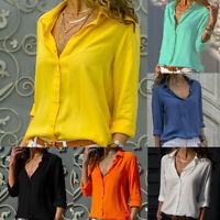 Women Summer T-shirt V-neck Blouse Button Long-sleeve Chiffon Tops Solid S-3XL