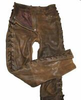 Antique Brown Hein Gericke Red Zipp Damen- Leather Jeans Lace-Up Approx. 36/38