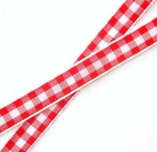 """Lot 2-YDS 3/8""""w Red & White Checked Gingham Ribbon,Light-weight polyester"""