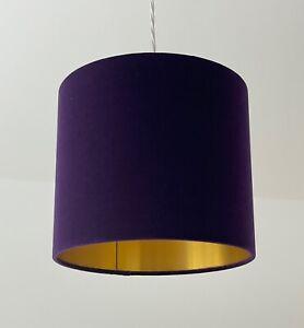 Lampshade Purple Velvet Brushed Gold Drum Light Shade