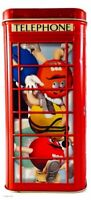 M&M's Phone Booth Tin Canister Christmas Village Series #14 Limited 2002 EUC