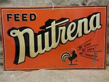 Vintage 1951 Embossed Nutrena Feed Sign > Antique Old Farm Seed Nice Color 9076