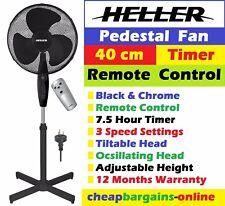 HELLER 40cm PEDESTAL FAN WITH REMOTE CONTROL PORTABLE AIR COOLER BLACK 3 Speeds